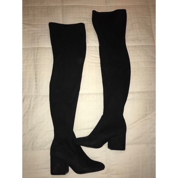b9e072cf6 Steve Madden Over the Knee Boots Loyal Black Suede